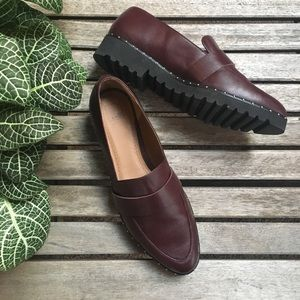NWOT Burgundy Leather Loafers